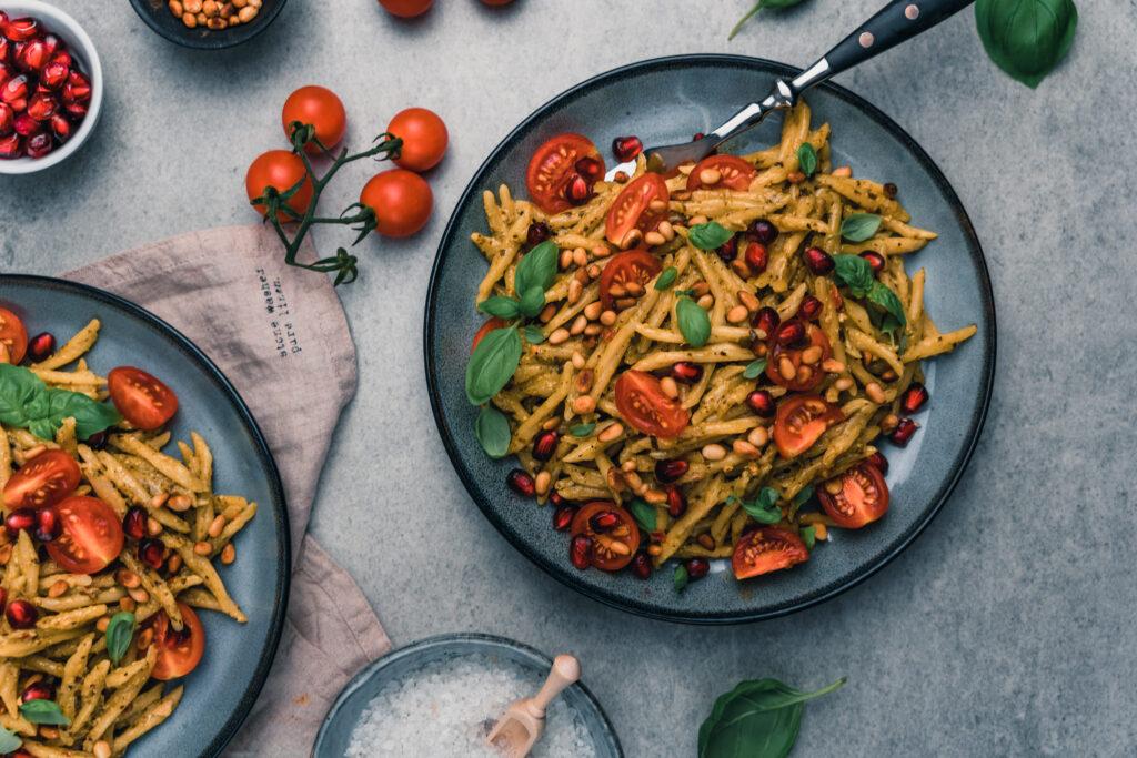 Rezept für mediterrane Pasta mit Pesto